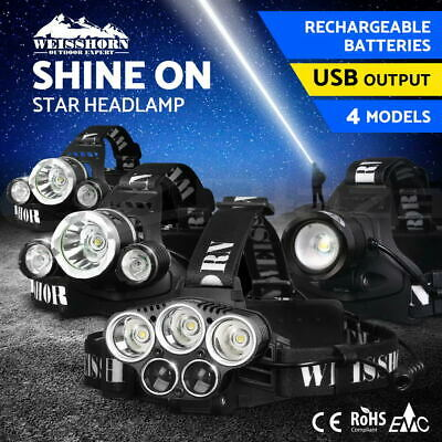 WEISSHORN LED Headlamp Rechargeable Head Light Flash Lamp Torch CREE XML T6 R5