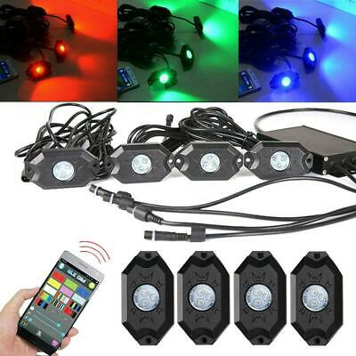4PC RGB LED Multi-Color Offroad Rock Lights Wireless Bluetooth Truck for Jeep
