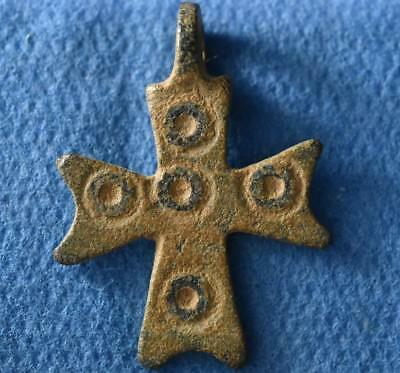 Judaea Byzantine, Christian Ancient bronze Cross Pendant / Amulet circa 7 cent.