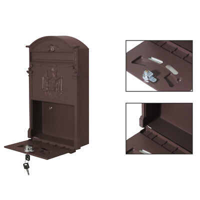 Iron Wall Mounted Vintage Cast Mailbox Letter Safe Box with Keys Post Lock Box