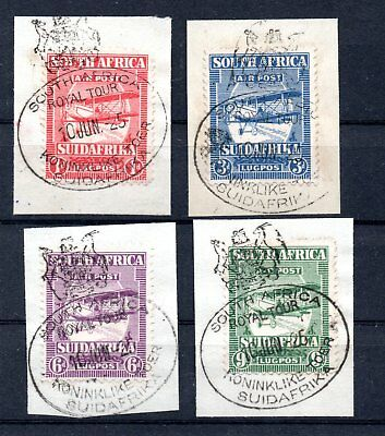 SOUTH AFRICA , 1925 , FIRST scarce AIRMAIL set wth scarce CANCELLATIONS , LOOK !