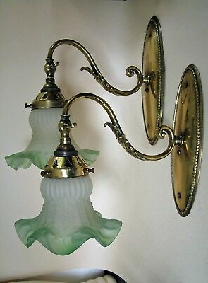 PAIR EARLY 20th C BRASS WALL LIGHTS with FROSTED GLASS SHADES. Art Nouveau /ish.