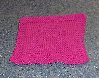 Brand New Hand Knit Basset Hound Pink Cotton Dish Cloth For Dog Rescue Charity