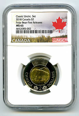 2018 Canada $2 Polar Bear Classic Toonie Ngc Ms65 First Releases Pop Only 4