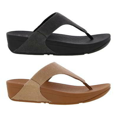 42df320ff905 Fitflop Lulu Toe Post Womens Canvas Black Beige Sandals Flip Flops Size 4-8