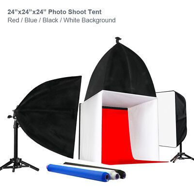 "Table Top Lighting Kit w/ 24"" Photo Tent Color Backgrounds Soft Box Light Stands"
