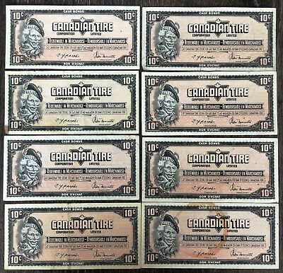 Lot of 8x 1974 Canadian Tire 10 Cents Notes - Great Condition