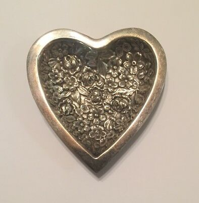 Stieff Sterling Silver Heart Trinket Dish Repousse Floral Pattern 40.5 Grams