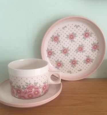 """Really Beautiful Pink Floral Hornsea England Trio Set """"Passion"""" In Vgc"""