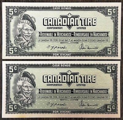 Lot of 2x 1974 Canadian Tire 5 Cents Notes ***Crisp Uncirculated*** CTC-S4-B-QN