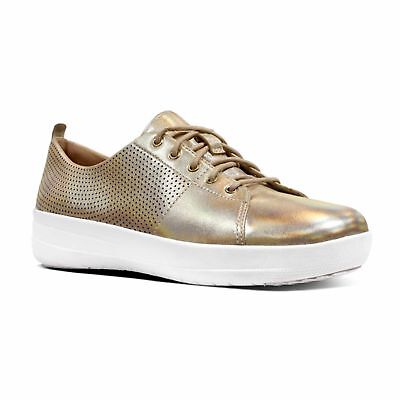 6167c10bcc2ae FitFlop™ F-SPORTY II™ Ladies Womens Perforated Leather Lace Up Trainers Gold