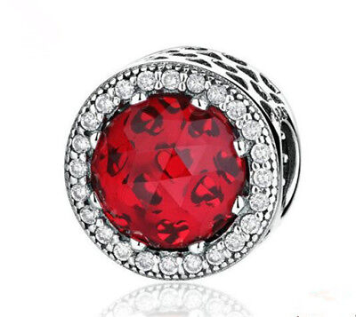 NEW Fashion European CZ Charm Red Crystal Spacer Beads Fit Necklace Bracelet —