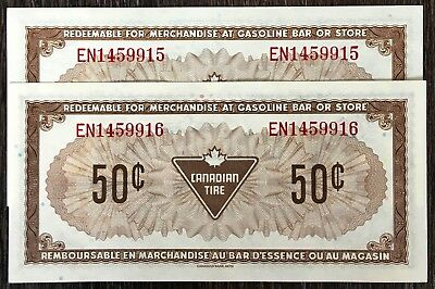 Lot of 2x 1974 Canadian Tire 50 Cents Notes - CTC-S4-E-EN - UNC w/Consec Serials