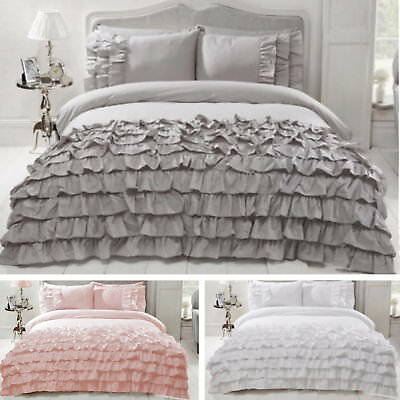 Luxury Flamenco Embellished Ruffles Frilly Frills Duvet Bedding Quilt Cover Set