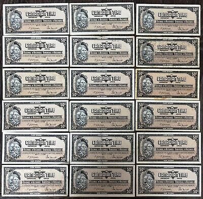 Lot of 18x 1974 Canadian Tire 50 Cents Notes - CTC-S4-E