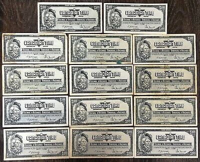 Lot of 14x 1974 Canadian Tire $1 Dollar Notes - CTC-S4-F-FN
