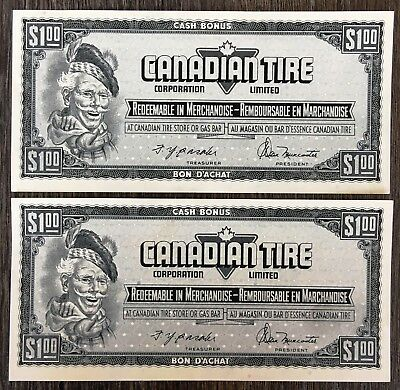 Lot of 2x 1974 Canadian Tire $1 Dollar Notes - CTC-S4-F-FN *Crisp Unc Consecs*