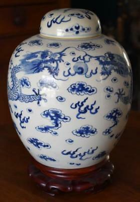 Large Covered Antique Chinese Blue & White Ginger Jar Dragon Pearl Ornate Stand