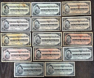Lot of 14x 1961 Canadian Tire 5, 10, 50 Cents & $1 Dollar Notes - CTC-S1