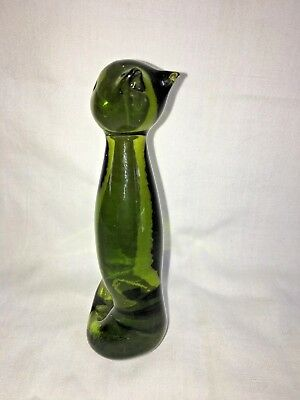 Vintage Green Art Glass TALL CAT SCULPTURE Figurine