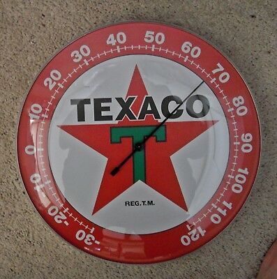 "TEXACO™ T STAR GLASS DOME WALL THERMOMETER ~ Red Star ~ 12"" Round Ad New in Box"