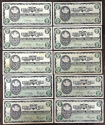 Lot of 10x 1976 Canadian Tire 5 Cents Notes - CTC-S5-B