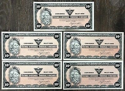Lot of 5x 1985 Canadian Tire 10 Cents Notes ***Great Condition*** CTC-S6-C