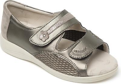 053131196 Padders CRUISE Ladies Womens Extra Wide (3E 4E) Summer Casual Sandals  Metallic