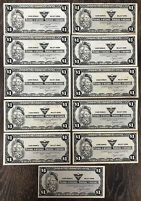 Lot of 11x 1985 Canadian Tire $1 Dollar Notes ***Great Condition*** CTC-S6-F