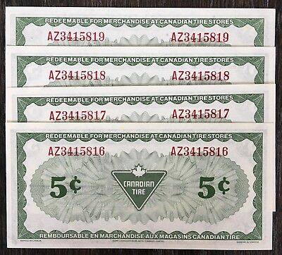 Lot of 4x 1985 Canadian Tire 5 Cents Notes **Consecutive Uncirculated** CTC-S6-B