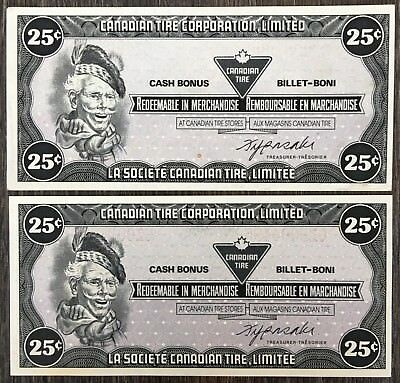 Lot of 2x 1985 Canadian Tire 25 Cents Notes **Crisp Uncirculated** CTC-S6-D