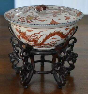 18Th Century Antique Japanese Baku Heii Style White Satsuma Bowl Lucky Hammer