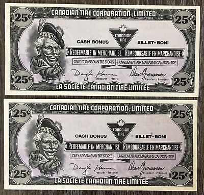 Lot of 2x 1989 Canadian Tire 25 Cents Notes ***Crisp Uncirculated*** CTC-S10-D