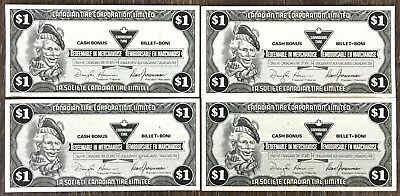 Lot of 4x 1991 Canadian Tire $1 Dollar Notes ***Crisp Uncirculated*** CTC-S13-F