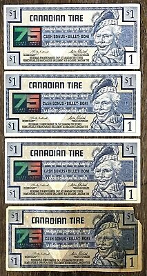 Lot of 4x 1996 Canadian Tire $1 Dollar Notes - Free Combined Shipping