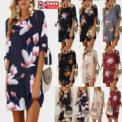 UK Women's Floral Print Dress Summer Beach Cocktail Evening Party Shift Dresses