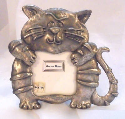 Ashleigh Manor Fat Cat Pewter Picture Frame 4 by 4 inch