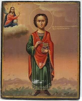 Old Antique Greek Icon of St. Pantelimon, 19th c