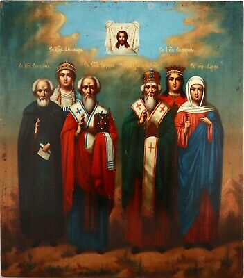 Old Antique Russian Icon of Selected Saints, 19th c