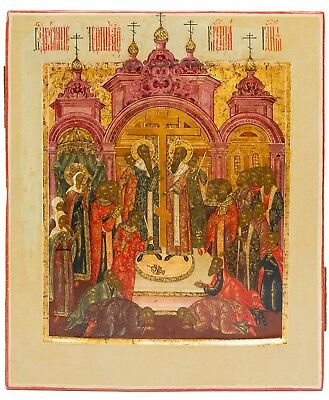 Old Antique Russian Icon of The Exaltation of The Holy Cross, 19th c