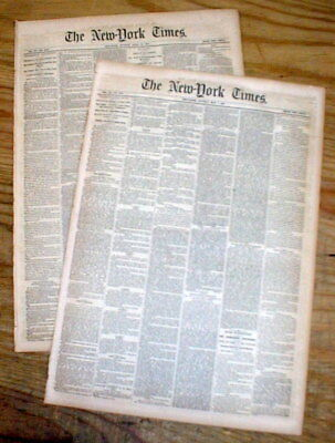 2 1860 NY Times newspapers HEENAN vs SAYERS Championship BOXING MATCH ENDS w TIE