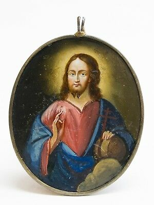 Old Antique Double Sided Russian Icon of Christ Pantocrator, 19th c