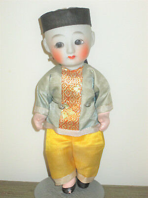 """Antique Vintage Small 7"""" JAPANESE BOY Porcelain DOLL W/ Clothing Old Asian"""
