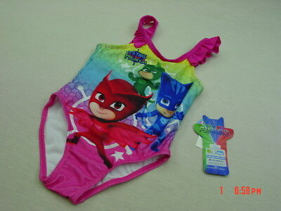 NWT Toddler Girls Bathing Suit Swim PJ Masks One Piece Hero Summer Water Fun