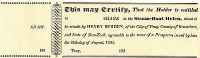1834 Unused Receipt Shares In Steam Boat Helen Rebuilt By Henry Burden Troy Ny