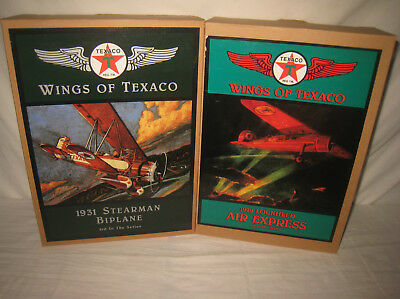 Two Wings of Texaco Diecast Metal Airplane Coin Banks #1 & #3 in Series MIB MK33