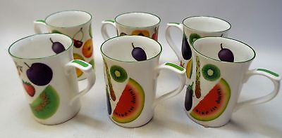 KINGSBURY Staffordshire Tableware Fine Bone China Fruit 'n' Veg MUGS x6 - P12