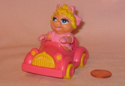 From Muppets Baby Miss Piggy In A Pink Car; McDonald Premium Toy 1986
