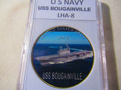 US NAVY LHA-8 Challenge Coin w// Presentation Box USS BOUGAINVILLE