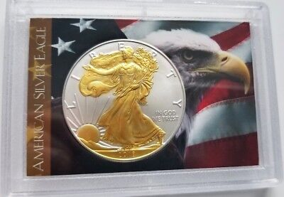 2018 American Silver Eagle  24k Gold Gilded  1oz .999 pure Silver Coin in case 1